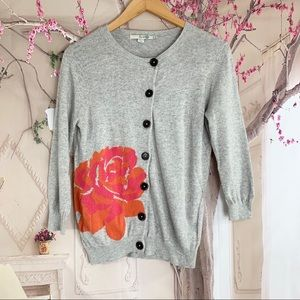 Boden Gray Cashmere Floral Print Cardigan